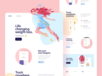 Nutracheck Website Redesign landing page weight tracking calories excercise food diet health web design illustration app graphics icons ux ui cuberto