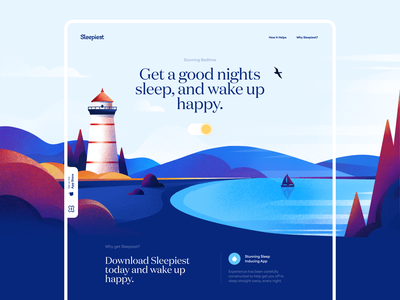 Sleepiest Start Page Design lighthouse atmospheric sleep start page landing page design illustration app graphics icons ux ui cuberto