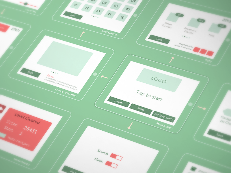 Wireframing for our game wireframe game greenprint button ui prototype frame ipad sketch layout ux cuberto icons