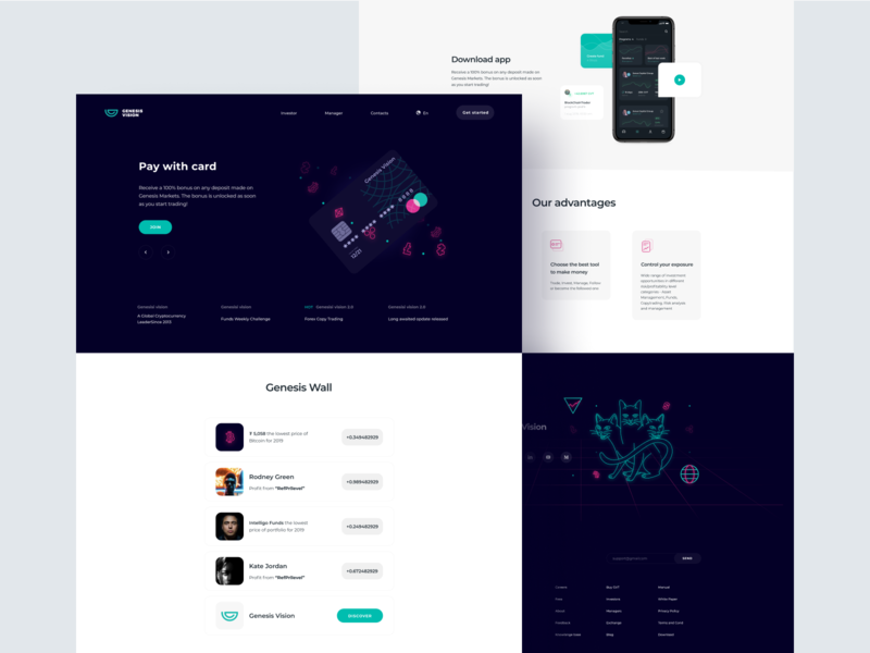 Genesis Vision Platform manager currency payment card exchange trader invest genesis web interface ios design illustration app graphics icons ux ui cuberto
