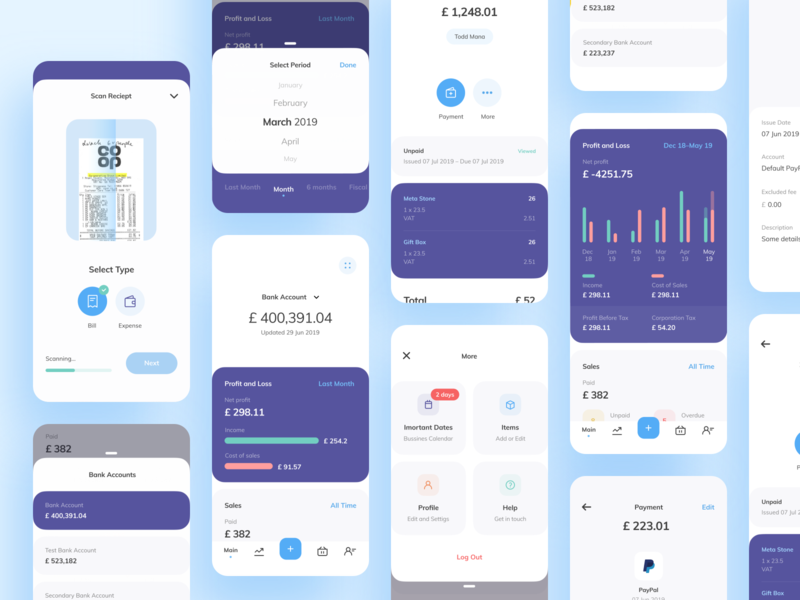 Personal finance app UI map sales statistics charts scan reciept finance banking balance amount account mobile ios illustration app graphics icons ux ui cuberto