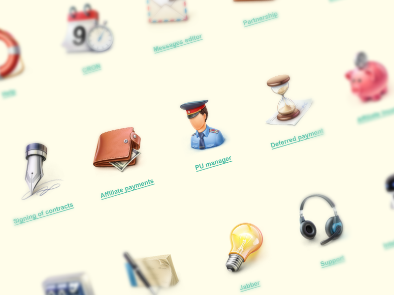 High quality icons set cuberto icons illustration web purse graphics mail user clock bulb set calendar coin