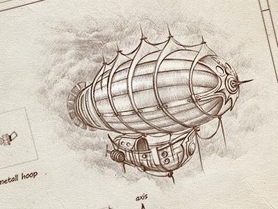 Airship scheme cuberto icons illustration sketch scheme paper airship graphics drawing