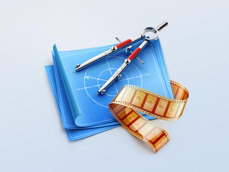 Compasses MacOS icon cuberto icons illustration film app blue print paper macos compasses 3d graphics sketches