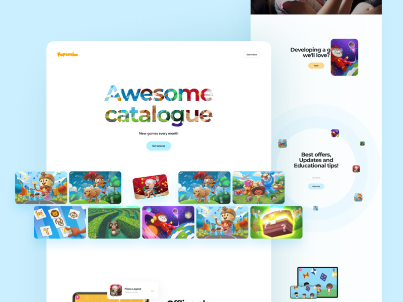 Papumba Landing Page landing page web fun preschooler kids education academy interface illustration app graphics icons ux ui cuberto