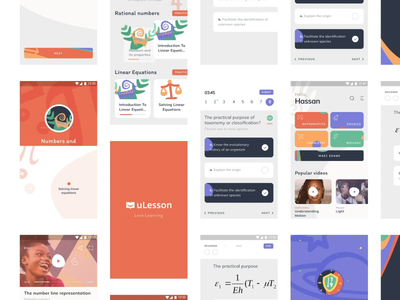 E-Learning application for secondary school teaching online student math exam school moblile learning education interface ios illustration app graphics icons ux ui cuberto