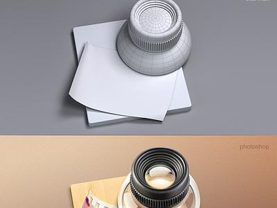 Lens MacOS icon cuberto icons illustration graphics lens glass macos wood film app
