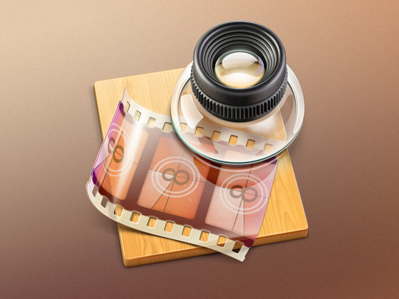 Lens MacOS icon cuberto icons illustration graphics lens glass macos wood film app