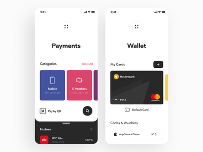 QBC Banking App history bill payment card wallet transaction finance bank mobile ios design app graphics icons ux ui cuberto