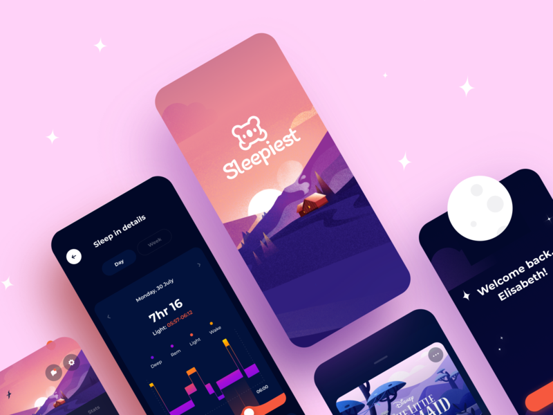 Sleepiest: The Best Sleeping App wellness relax meditation sound night bedtime alarm time sleep mobile illustration app graphics icons ux ui cuberto
