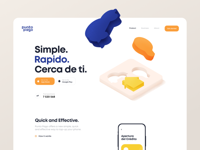 Punto Pago Landing Page utility landing page account payment terminal service web illustration app graphics icons ux ui cuberto