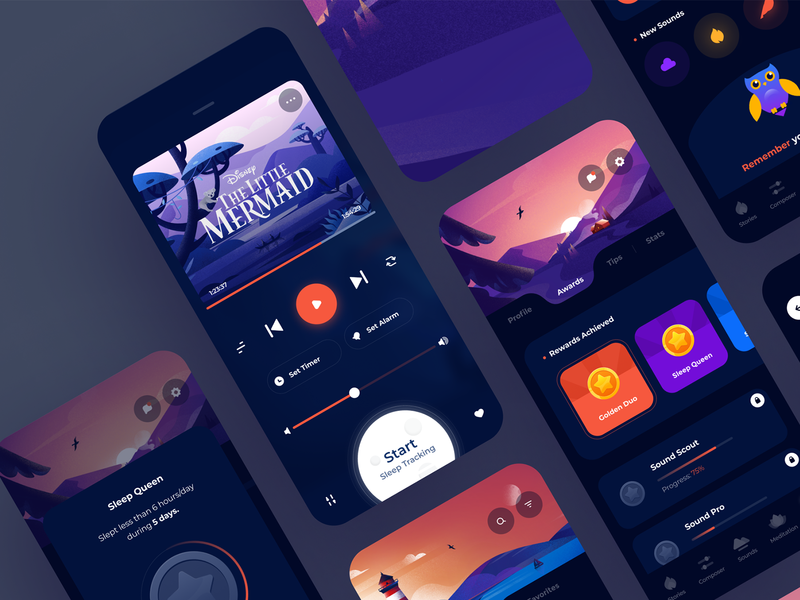 Sleepiest UI map design relax dream track sound story time bedtime sleep meditation alarm mobile ios illustration app graphics icons ux ui cuberto