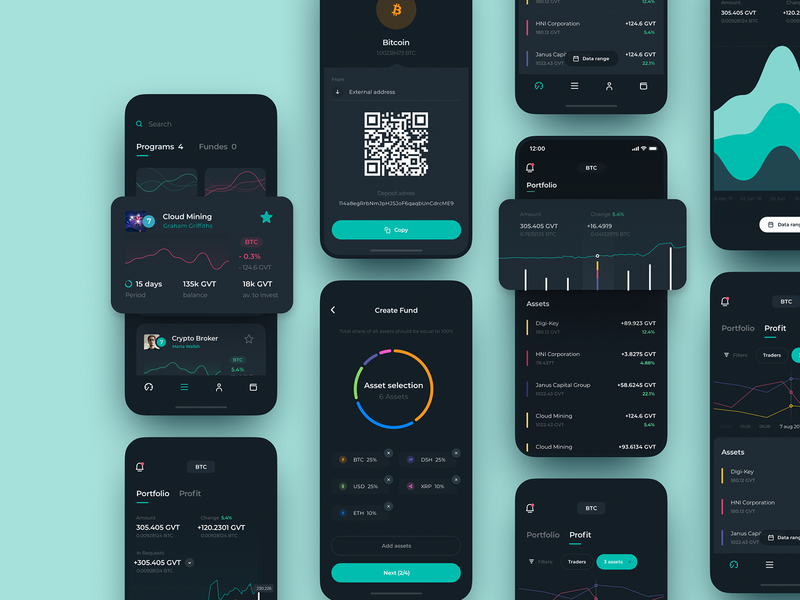 Genesis Vision Mobile App Design fund trader tool management investors charts trading ecosystem mobile ios illustration app graphics icons ux ui cuberto