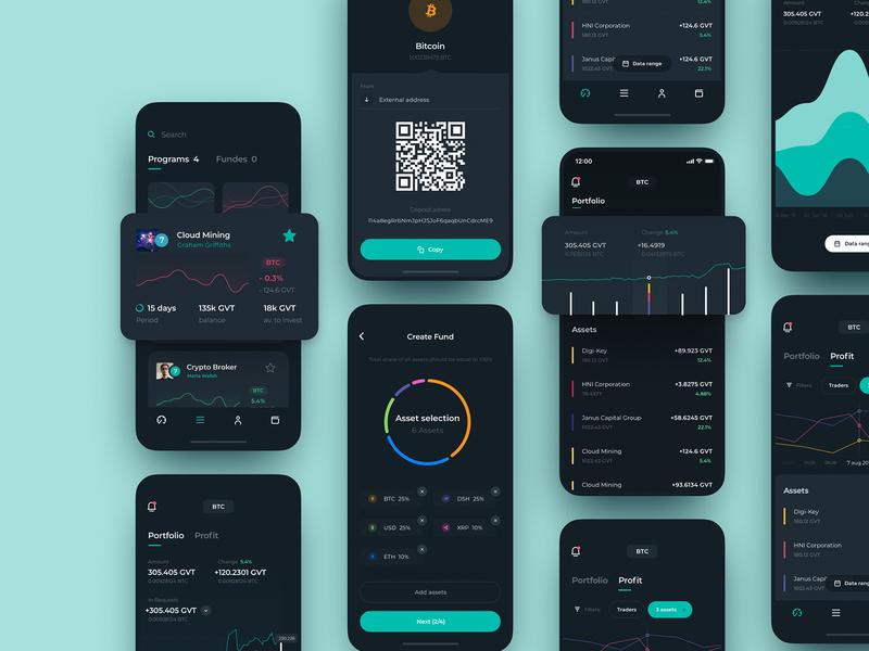 Genesis Vision Mobile App Design fund trader tool management investors charts trading ecosystem mobile ios illustration app graphics icons ux ui cuberto