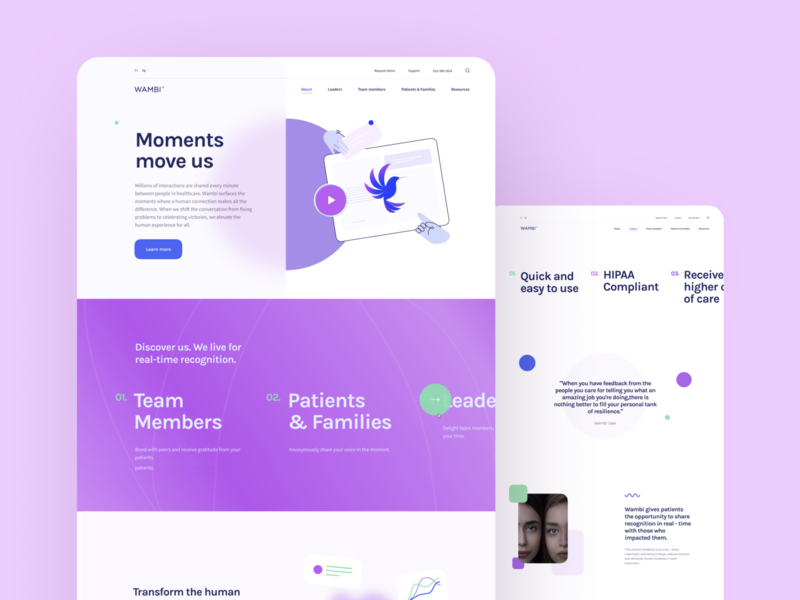 Wambi Human Connections resource mockup leader member team workplace connection human web illustration graphics icons ux ui cuberto