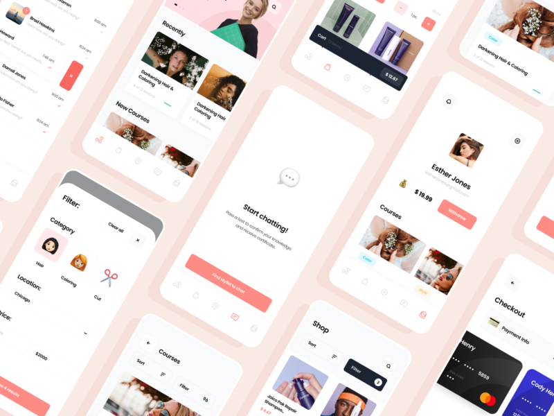 Online Education App for Hair Stylists workspace color training salon barbershop stylish hair education mobile ios illustration app graphics icons ux ui cuberto