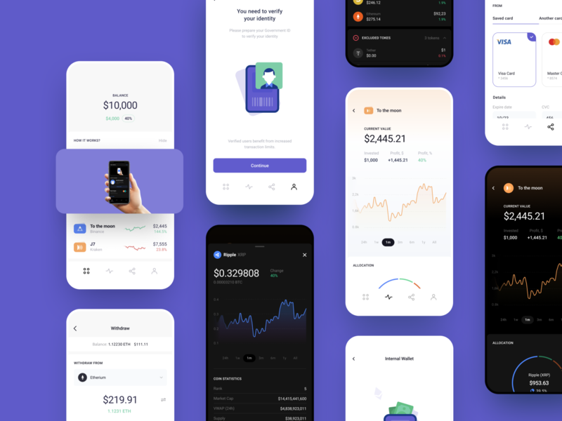 Сryptocurrency Investments App for Beginners wireframes ui map finance tool charts wallet crypto currency investment mobile illustration app graphics icons ux ui cuberto