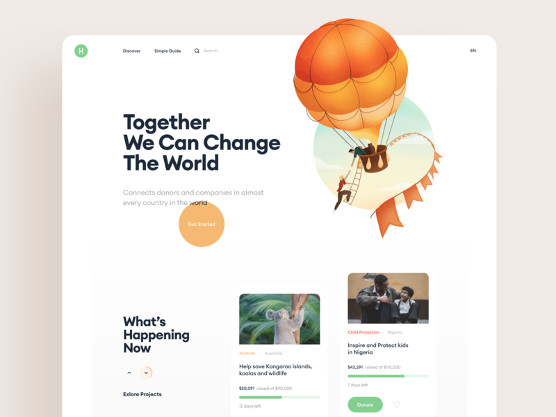 Global Charity Giving Platform connection community help peace balloon donate happy world platform charity web design illustration graphics icons ux ui cuberto