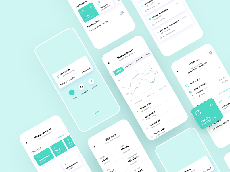 OHM Health Mobile App medical history anamnesis list pharmacy laboratory medicine journal doctor patient mobile health app graphics icons ux ui cuberto