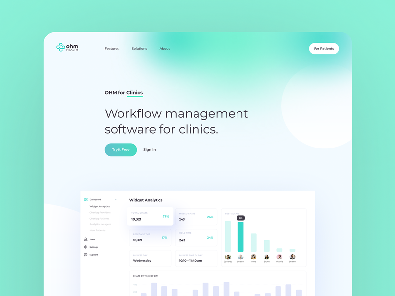 OHM Health: Monitor health in real time clinic tracking healthcare record journal physician patient health doctor web app graphics icons ux ui cuberto