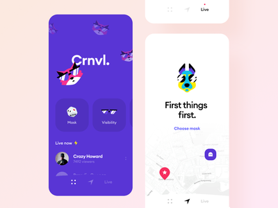 VR anonymous social platform map dating network reality mask vr anonymous social mobile ios graphics illustration app icons ux ui cuberto