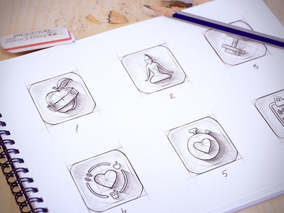 Sketches for iOS icon cuberto app iphone ios ios 7