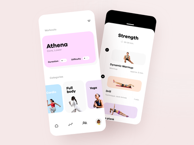 Home Workout App running load strength weight body trainer gym exercise workout fitness mobile app graphics icons ux ui cuberto
