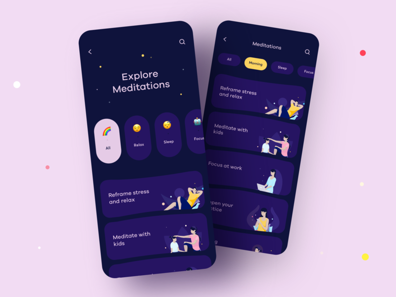 Meditation App Design categories music practice nature sleep sound aura relax meditation mobile ios illustration app graphics icons ux ui cuberto