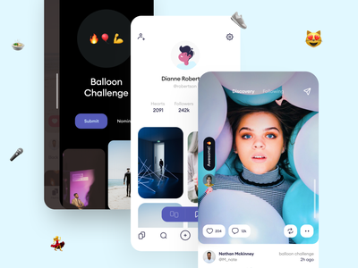 Social Network based on​ Mimicry dating emoji follower challange community profile private social network interface ios illustration app graphics icons ux ui cuberto