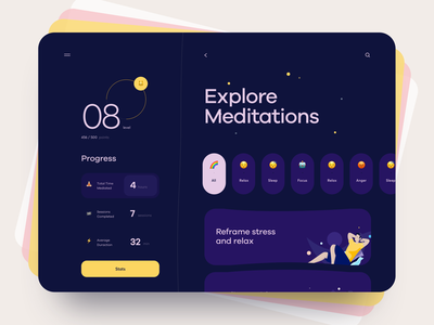 Meditation Desktop App mode usability search emoji ux design motivation sleep meditation desktop web illustration graphics icons ux ui cuberto