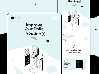 Daily Routine & Self-Care Services range cleaning lifestyle life homecare services routine activity week daily landing page web interface illustration icons ux ui cuberto
