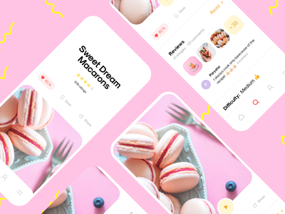 Recipe App for Sweet Dream Macarons dish delicacy sweet kitchen recipe cooking macarons usability user experience mobile interface illustration app graphics icons ux ui cuberto