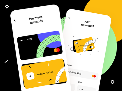 Add a New Payment Method flow banking store option method card payment cart mobile ios interface illustration app graphics icons ux ui cuberto