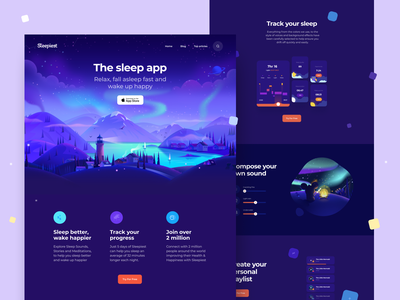 Sleepiest Website v2 landing page page art visual usability music relax sleep web design illustration app graphics icons ux ui cuberto