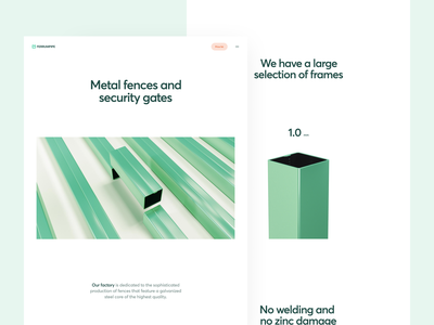 Ferrumpipe SOTD on Awwwards development cinema4d 3d green awards frame pipe metal fences corporate landing page web design illustration app graphics icons ux ui cuberto