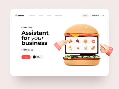 Market-leading Online Cashier reciept check payment business online cash burger cinema 3d food web interface illustration graphics icons ux ui cuberto