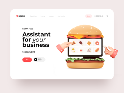 Market-leading Online Cashier reciept check payment business online cash burger cinema 3d food web interface illustration graphics icons ux ui cuberto