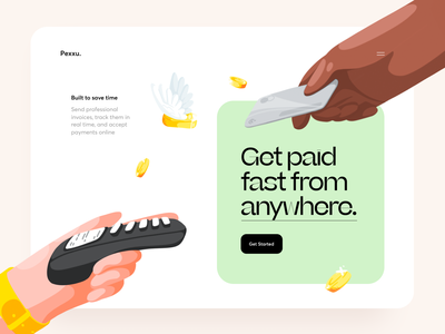 Pexxu Online Payments Start Page banking preview terminal paid technology easy card cashier cash payment web illustration graphics icons ux ui cuberto
