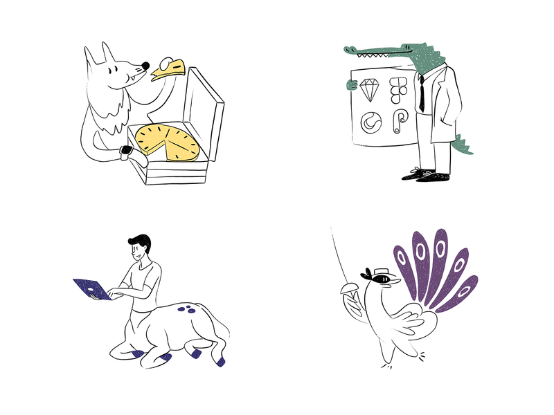 Services Illustrations vector art services bird centaur crocodile pizza dog design illustration graphics icons ux ui cuberto