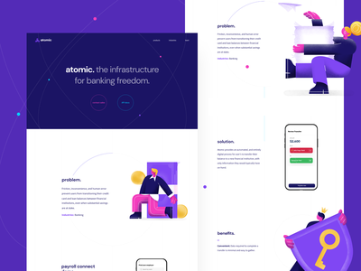 Atomic: The infrastructure for connecting to payroll accounts fintech atom funding product payroll banking infrastructure finance web interface illustration graphics icons ux ui cuberto