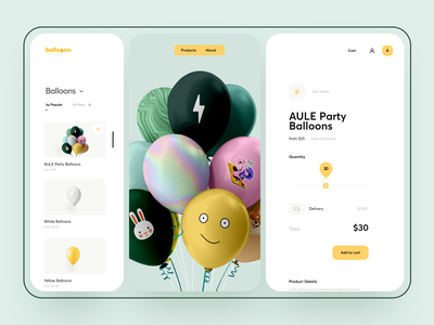 Balloons Ordering Page buy goods shop preview experience usability cart balloon ecommerce order web illustration graphics icons ux ui cuberto