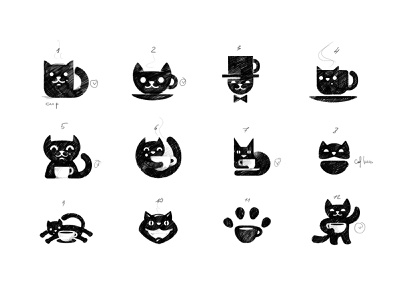 Coffee House Logo Sketches (cats) identity branding logo cap cup veterinary clinic cat pencil drawing sketch illustration app graphics icons ux ui cuberto