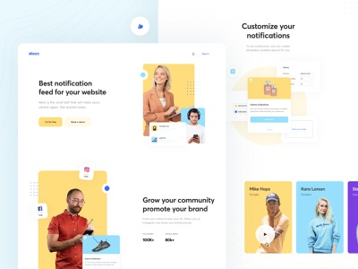 Landing Page Concept for On‑site Notification Feed admin panel concept campaign feed notification web illustration app graphics icons ux ui cuberto