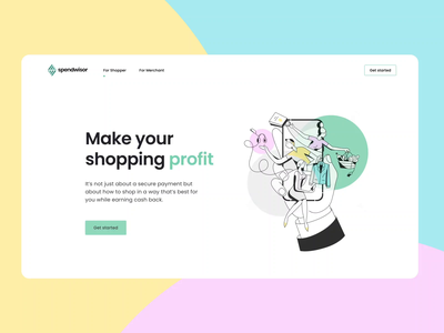 Spendwisor Website Interaction purchase merchant cashback interaction animation wallet business landing page interface web graphics icons ux ui cuberto