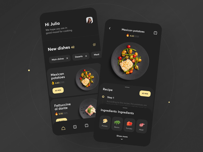 Recipes and Meal Planner App cooking usability user experience tasty dish meal recipes food kitchen ios app graphics icons ux ui cuberto
