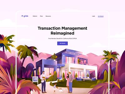 Glide Website Illustration broker sale agent realtor house real estate web interface illustration graphics icons ux ui cuberto