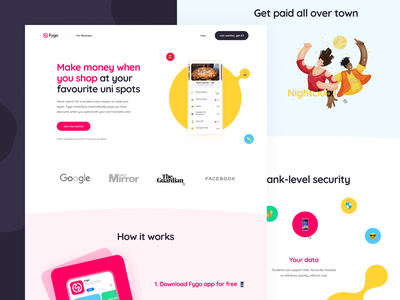 Fygo Landing Page call to action user experience user interface payment landing page website design web illustration icons ux ui cuberto