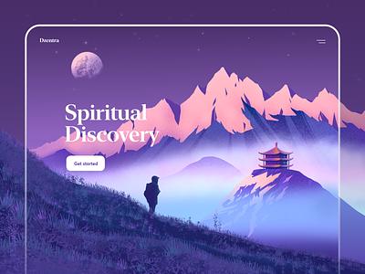 Mountains Illustration for Website ipad pro procreate vector moon mountains art web illustration graphics ux ui cuberto