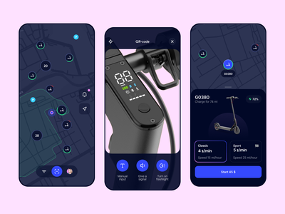 Dragonfly App Design map city transport sport scooter experience design interface design usability ios illustration app graphics icons ux ui cuberto