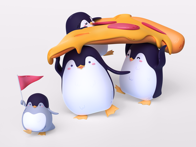 Penguins illustration family pizza art penguins render blender 3d design illustration graphics icons ux ui cuberto
